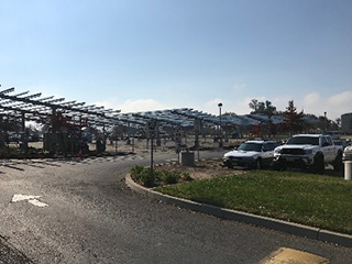 Completed support structures for solar panels at Madera Community College Center