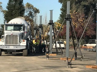 Cement pouring for solar project at Reedley College