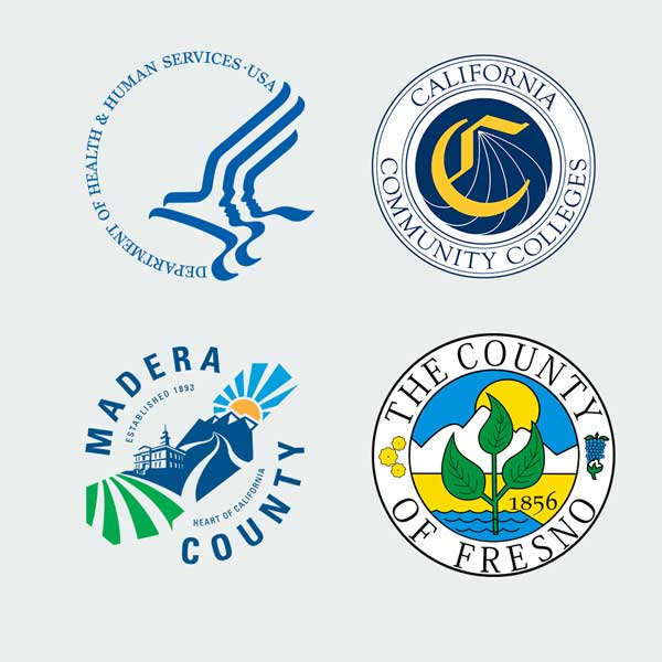 Fresno county, Madera County, CCC Chancellor's Office, and Department of Health Logos